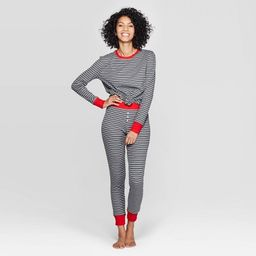 Women's Striped Thermal Sleep Pajama Set - Stars Above™ Heather Gray   Target