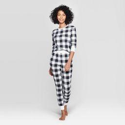 Women's Buffalo Check Thermal Sleep Pajama Set - Stars Above™ Black   Target