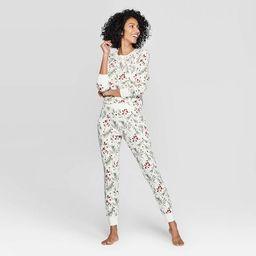 Women's Holly Print Thermal Sleep Pajama Set - Stars Above™ Cream   Target