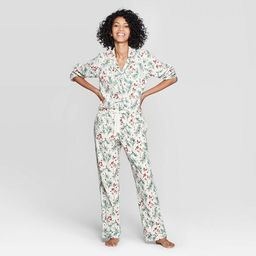 Women's Holly Print Perfectly Cozy Flannel Pajama Set - Stars Above™ Cream   Target