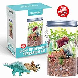 Onnetila Dinosaur Fairy Garden in a Jar Light up Terrarium Kit for Kids Plant Growing Kit Grow an... | Amazon (US)