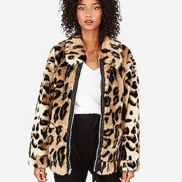 oversized faux cheetah fur coat | Express