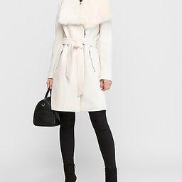 long belted wool-blend zip front coat | Express