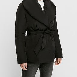 shawl collar puffer coat | Express