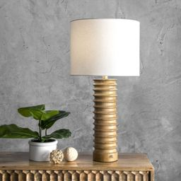 Revere 25-inch Andromeda Wood Spiral Cotton Shade Table Lamp Lamp   Rugs USA