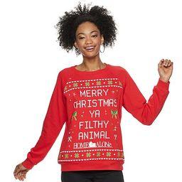 "Juniors' Home Alone ""Merry Christmas Ya Filthy Animal"" Crew Neck Light Up Christmas Sweater   Kohl's"