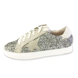 Women Classic Two Tone Star Lace up Fashion Sneakers-Half Size Small | Amazon (US)