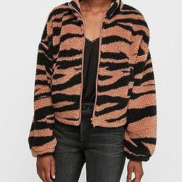 tiger print sherpa full zip sweatshirt | Express