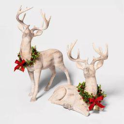 "19.4"" x 7.1"" Wooden Standing Deer Figurine with Wreath Natural - Threshold™ | Target"