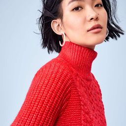 Cropped Turtleneck Cable Sweater | LOFT