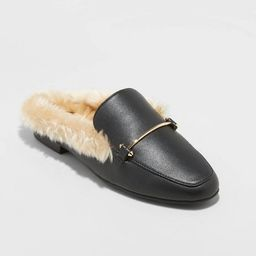 Women's Rebe Faux Leather Fur Backless Mules - A New Day™ Black | Target
