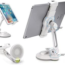 """Grip Tight iPad Suction Cup Holder Fits 4-11"""" Display, Large Swivel Sticky Tablet Phone Stand P... 