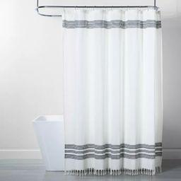 Stripe Fringe Shower Curtain White/Gray - Threshold™ | Target