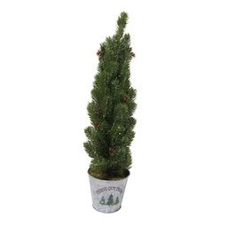 """24"""" Flocked Artificial Christmas Tree Tabletop Accent with Galvanized Pot by Ashland® 