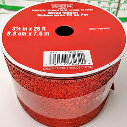 3.5 inch x 25 ft Wired Edge red Glitter Ribbon 100% Polyester MSRP 15.00 | Amazon (US)