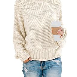 Dokotoo Women Solid Turtleneck Balloon Long Sleeve Sweaters Pullover Outerwear | Amazon (US)