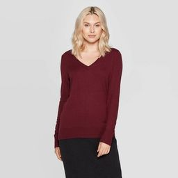 Women's Long Sleeve Ribbed Cuff V-Neck Pullover Sweater - A New Day™ | Target