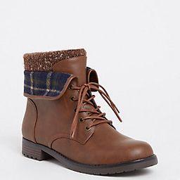 Chestnut Faux Suede Foldover Sweater Combat Boot (Wide Width) | Torrid