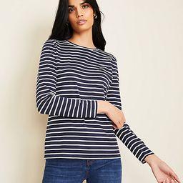Striped Pima Cotton Long Sleeve Tee | Ann Taylor | Ann Taylor (US)