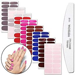 WOKOTO 8 Sheets Nail Polish Stickers With 1Pcs Nail File Pure Color Classical Adhesive Full Wraps...   Amazon (US)