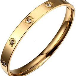 Titanium Steel Love Bracelet with Swarovski Crystals   Amazon (US)