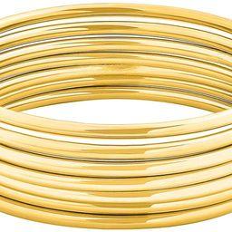 """Glossy Thin Round Bangle Bracelet Set for Women, Set of 7, 7.8"""" Inches   Amazon (US)"""