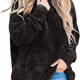 Flovey Women's Autumn Long Sleeve Crew Neck Chenille Velvet Chunky Knitted Oversized Pullover Swe... | Amazon (US)