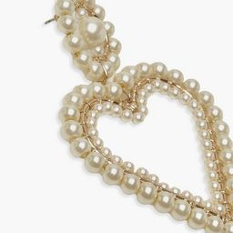 Pearl Heart Statement Earrings | Boohoo.com (US & CA)