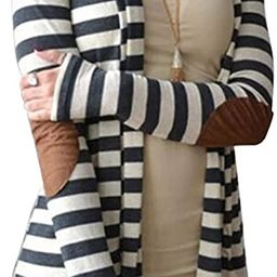 Aifer Women's Cardigans Striped Button Sweaters Elbow Patch Open Front Outwear | Amazon (US)