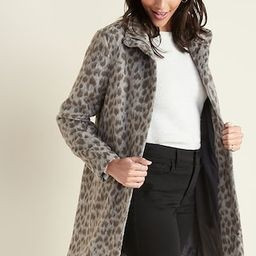 Relaxed Soft-Brushed Leopard-Print Coat for Women   Old Navy (US)