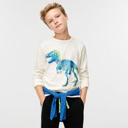 Kids' long-sleeve dinosaur T-shirt in slub cotton | J.Crew US