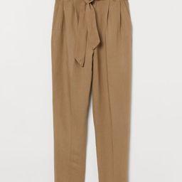 Linen-blend Paper-bag Pants   H&M (US)
