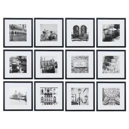 """12 Piece 12""""X12"""" Black Frame Kit, Matted To 8""""X8"""" - Gallery Perfect   Target"""