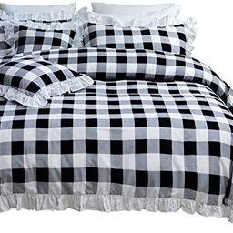 TEALP Buffalo Check Bedding Queen with White Ruffles (Queen,1 Duvet Cover + 2 Pillow Cover) | Amazon (US)