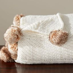 Faux Fur Pom Pom Knitted Throws | Pottery Barn (US)