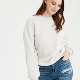 AE Fuzzy Sherpa Cropped Crew Neck Sweatshirt | American Eagle Outfitters (US & CA)