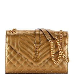 Medium YSL Monogram Metallic Shoulder Bag | Neiman Marcus