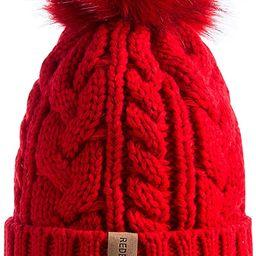 REDESS Women Winter Pom Pom Beanie Hat with Warm Fleece Lined, Thick Slouchy Snow Knit Skull Ski ...   Amazon (US)