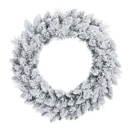 "Holiday Time Winter Frost Flocked Un-Lit Wreath, 24""   Walmart (US)"