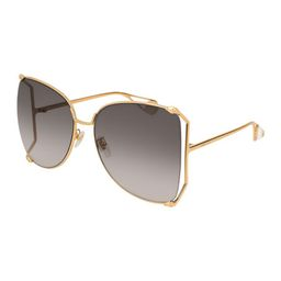 Gucci Oversized Metal Butterfly Sunglasses, Gold/Gray | Bergdorf Goodman