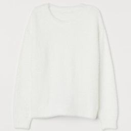 Knit sweater in soft, fluffy chenille yarn. Dropped shoulders, long sleeves, and ribbing at neckl... | H&M (US)