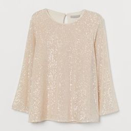 Straight-cut top in sequined mesh. Round neckline, opening at back of neck with concealed button,...   H&M (US)