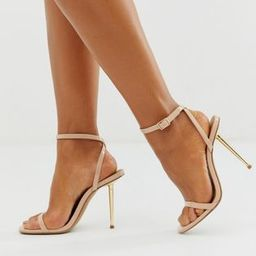 ASOS DESIGN Nation metal heel barely there heeled sandals in beige | ASOS US