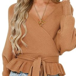 Women's Wrap V Neck Long Batwing Sleeve Belted Waist Ruffle Knitted Sweater Pullover Top | Amazon (US)