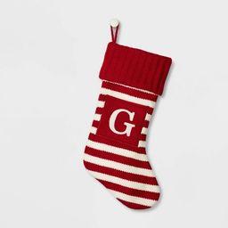 Knit Monogram Striped Christmas Stocking Red/White - Wondershop™ | Target