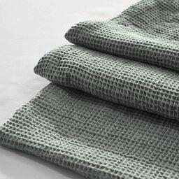 Yue Home Textile Linen Cotton Waffle Blanket, Sage, Queen   Houzz (App)