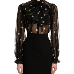 Dolce & Gabbana Tie-Neck Polka-Dot Organza Blouse   Bergdorf Goodman