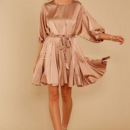 Kiss Goodnight Gold Champagne Dress | Red Dress