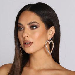 Statement Rhinestone Heart Earrings | Windsor Stores