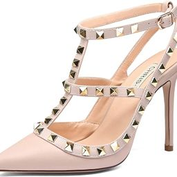 TZAMCW Women's Studded High Heels 4 Inch Stiletto Heel Gold Stud Heeled Sandals Pointed Toe Strap... | Amazon (US)